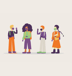 Group students with face masks and gloves vector