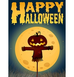 Halloween theme with scarecrow on fullmoon vector image