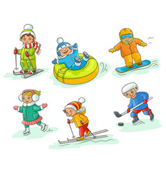 Hand drawn kids children doing winter activities vector