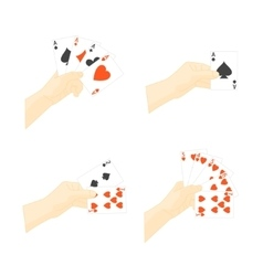 Hand Holding Playing Cards Set vector image