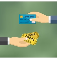 Hands with credit card and cinema tickets vector