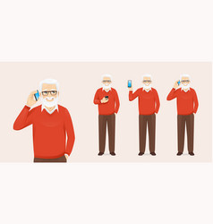 handsome senior man with phone vector image