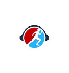 headphone run logo icon design vector image