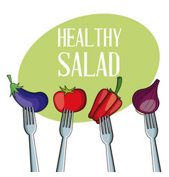 Healthy salad vegetables with fork vector