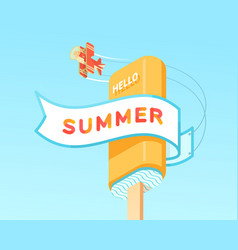 hello summer on ribbon with plate and icecream vector image