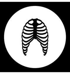 human ribs bones black simple icon eps10 vector image