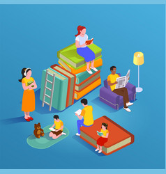 isometric group reading composition vector image