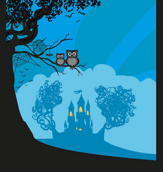 landscape with castle at night vector image