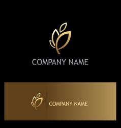 leaf plant gold nature ecology logo vector image