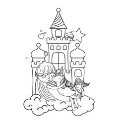 line girl hugging cute unicorn in the castle vector image