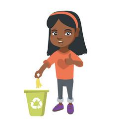 Little girl throwing banana peel in recycling bin vector