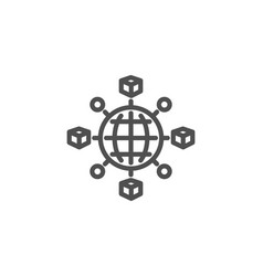 Logistics network line icon parcel tracking vector