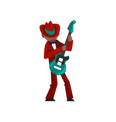 male african american musician in red elegant suit vector image