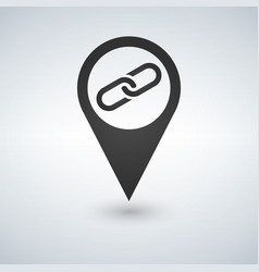 map pointer with link icon vector image