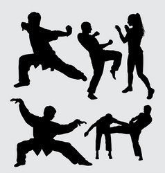 martial art male and female sport silhouette vector image