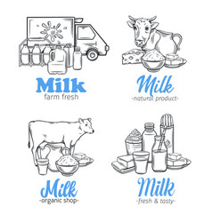 Milk product banners vector