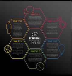 Modern dark hexagonal infographic report template vector