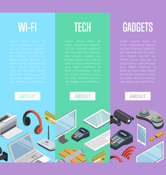 modern wireless gadgets isometric posters vector image