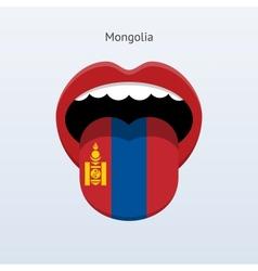 Mongolia language Abstract human tongue vector