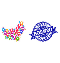 Mosaic map of borneo island with map markers and vector