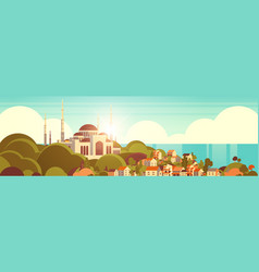 nabawi mosque building religion concept muslim vector image