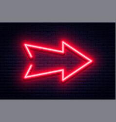 neon arrow sign glowing arrow pointer vector image