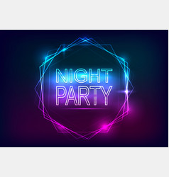 Night party advertisement template neon style vector