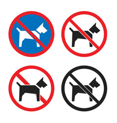 no dogs icon set dog restriction sign vector image