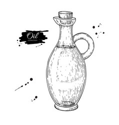 Oil bottle drawing glass pitcher with cork vector