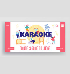 People sing in karaoke club concept for landing vector