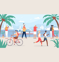 people walk on sea quay family and couple tourist vector image