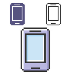Pixel icon smartphone in three variants fully vector