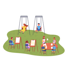 Playground children spending leisure time vector