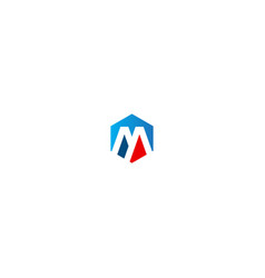 polygon m initial business logo vector image