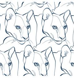 Puma cat animal art line modern seamless pattern vector