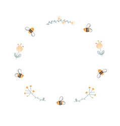 round doodle frame bees and flowers logo vector image