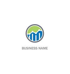 round line graph business progress logo vector image