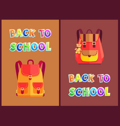 rucksacks for girls with bear toy trinket poster vector image