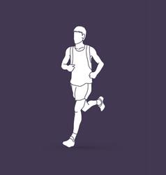 Running man sport man sprinter marathon runner vector