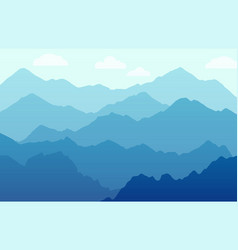 scenic panorama with mountains - beautiful vector image
