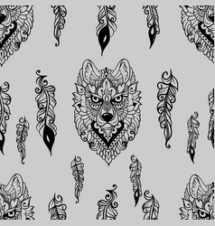 seamless pattern with wolf and feathers vector image