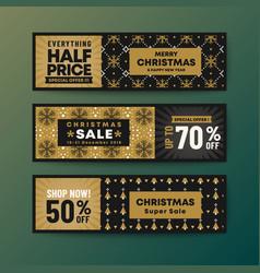 set gold color theme christmas web banner vector image