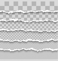 set horizontal seamless torn white paper vector image