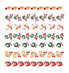 set of traditional embroidery vector image