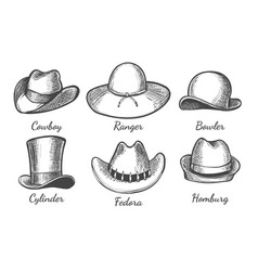 sketch men hats vector image