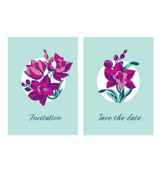 sketch style line-art pink orchid flowers vector image