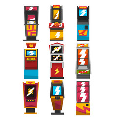 Slot machines set arcade gambling equipment vector