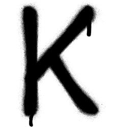 Sprayed K font graffiti with leak in black vector