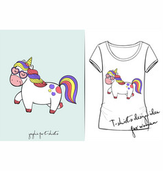 t shirt of cute cartoon walking unicorn vector image