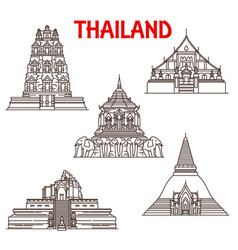 thailand chiang mai ayutthaya temples line icons vector image